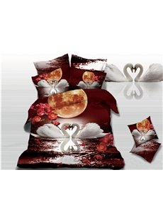 White Swan Couple's Love in Moonlight Print 3D Duvet Cover Sets