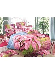 Pink Magnolia Print 3D Duvet Cover Sets