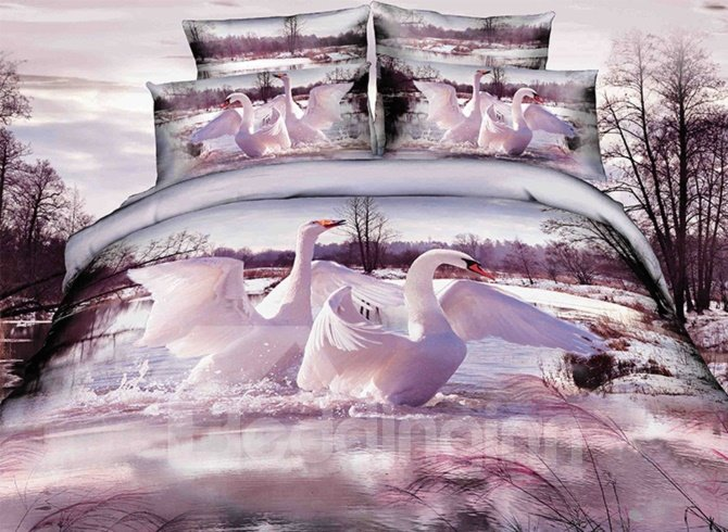 Swimming White Swan Couple Print 3D Duvet Cover Sets