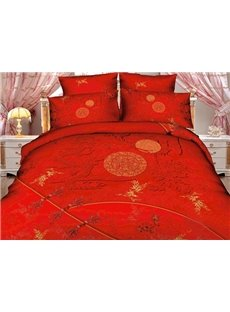 Pretty Red Color Dragon and Moon Print 3D Duvet Cover Sets