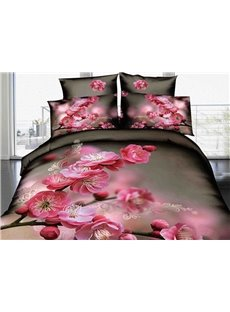 Delicate Pink Peach Blossom Print 3D Duvet Cover Sets