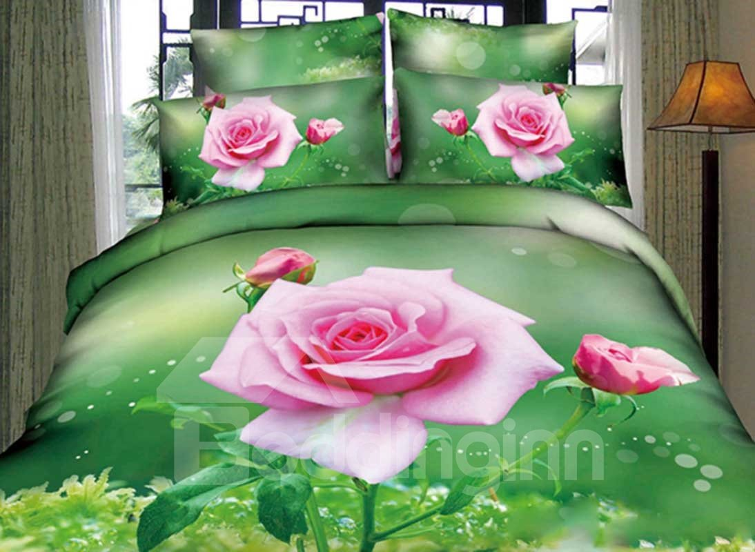 A Branch of Pink Rose with Green Background Print 4-Piece 3D Duvet Cover Sets