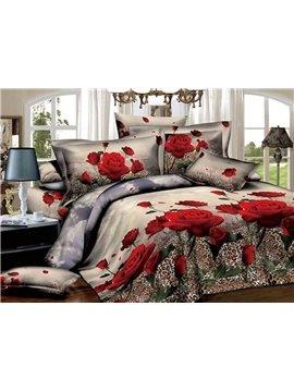 Fancy Red Rose with Leopard Print 3D Duvet Cover Sets
