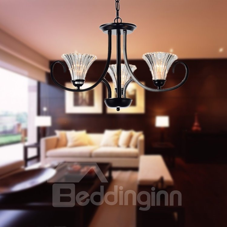 Modern Style Glass Shade 3 Lights Pendant
