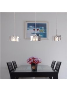 Modern Style Crysral Electroplated Finish 3 Heads Pendant Light