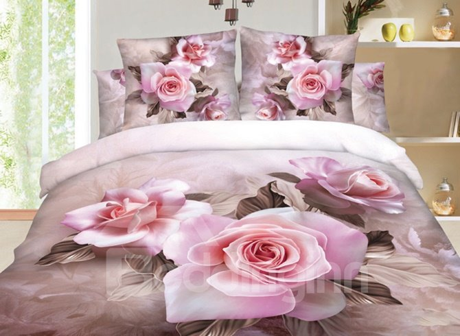 100% Cotton Beautiful Pink Rose Print 3D Duvet Cover Sets