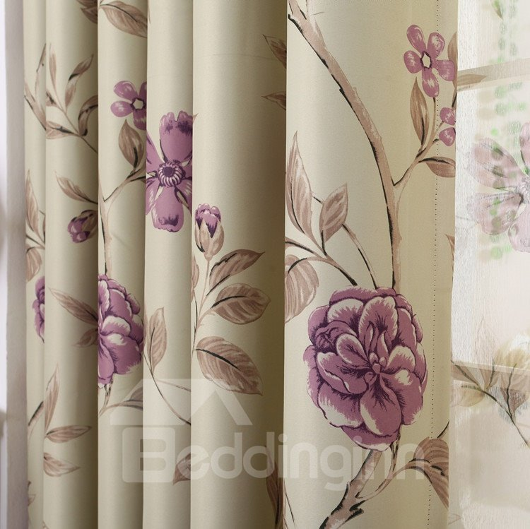 Amazing Purple Floral Patterns Grommet Top Custom Curtain