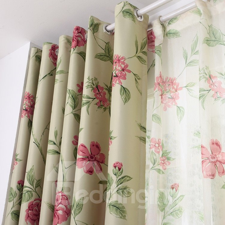 Amazing Red Floral Patterns Grommet Top Custom Curtain