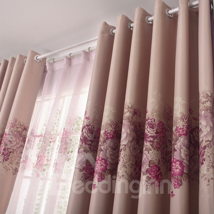 Elegant Pink Floral Patterns Design Grommet Top Custom Curtain