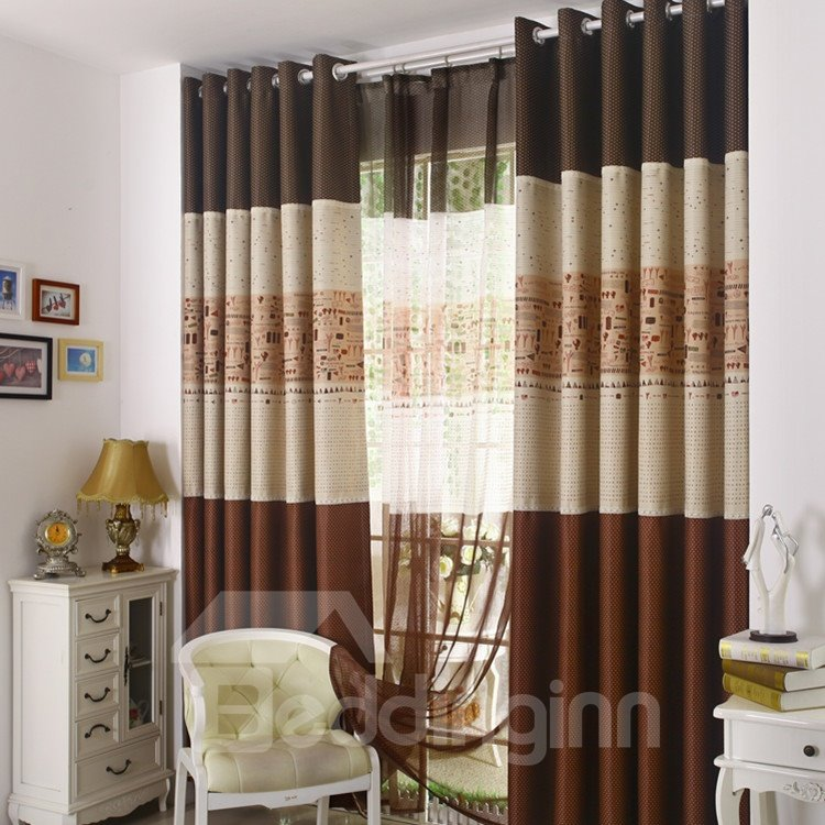 Modern Decoration Unique Patterns Grommet Top Curtain
