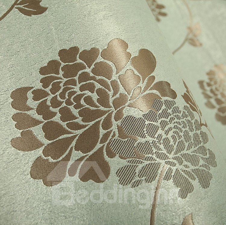 Elegant Light Blue Patterns Design Grommet Top Custom Curtain