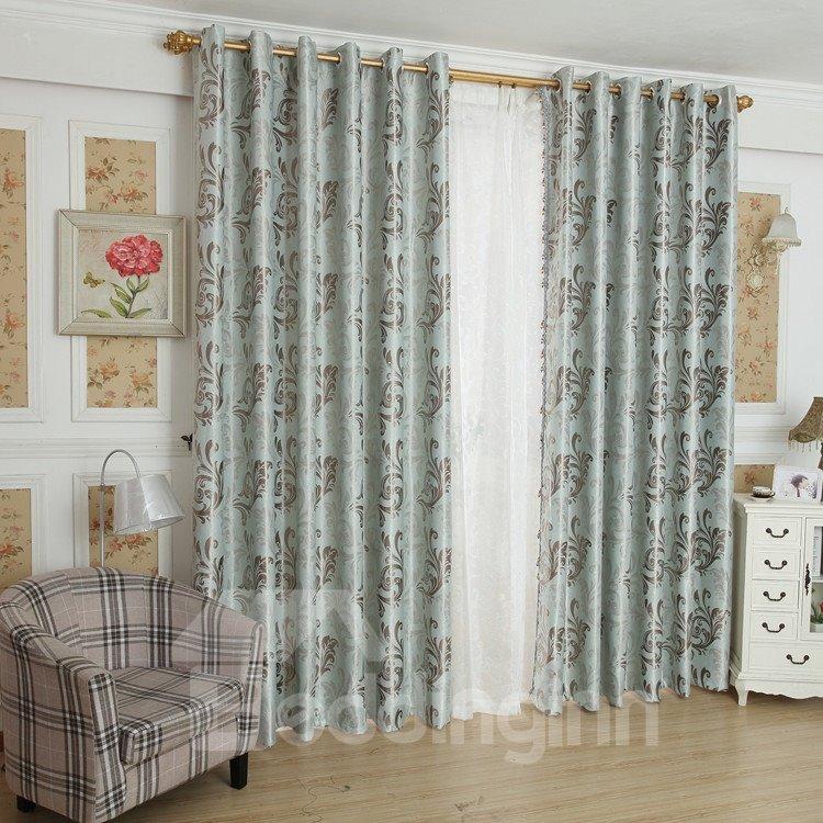 Amazing Light Blue Beautiful Patterns Design Grommet Top Custom Curtain