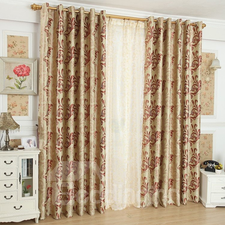 Amazing Golden Coffee Beautiful Patterns Design Grommet Top Custom Curtain