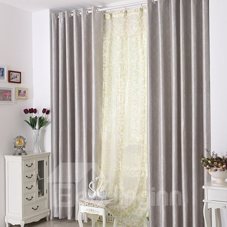High Quality Elegant Silver Gray Grommet Top Custom Curtain