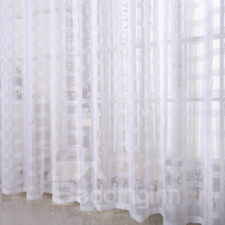 Elegant Solid Contemporary White Custom Sheer Curtain