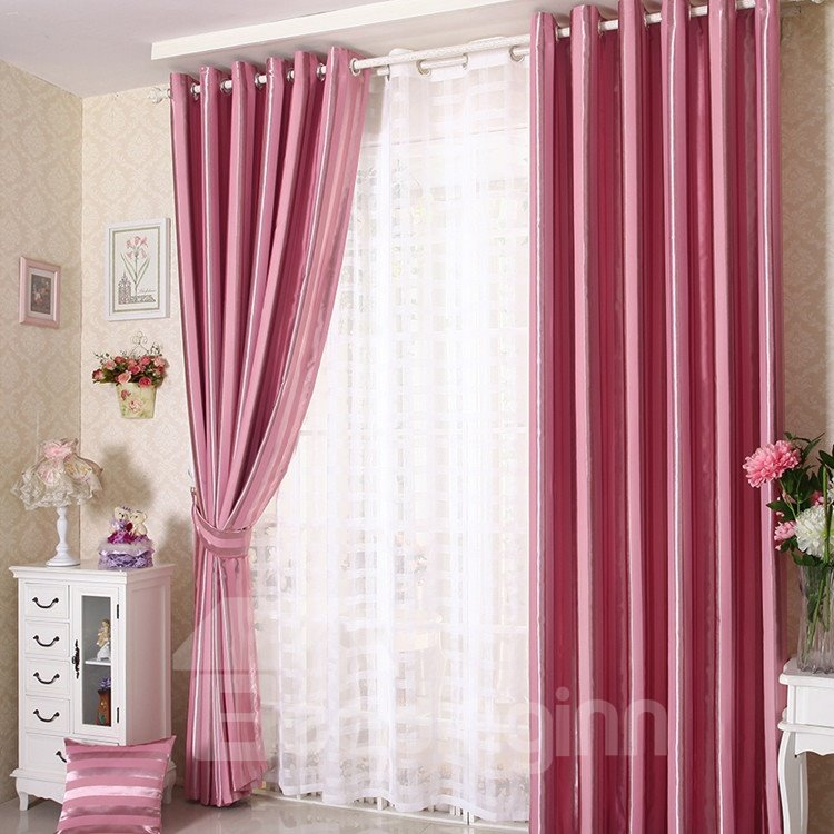 Elegant Contemporary Strip Pink Grommet Top Custom Curtain