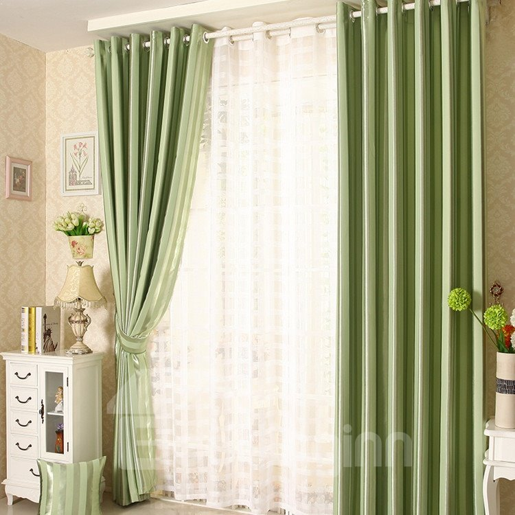 Contemporary Vibrant Green Grommet Top Curtain