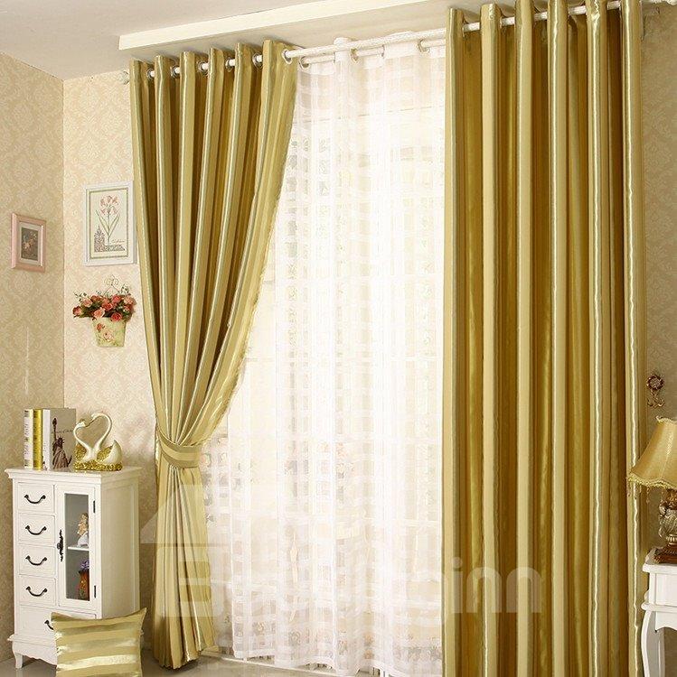 Elegant Contemporary Strip Yellow Grommet Top Custom Curtain