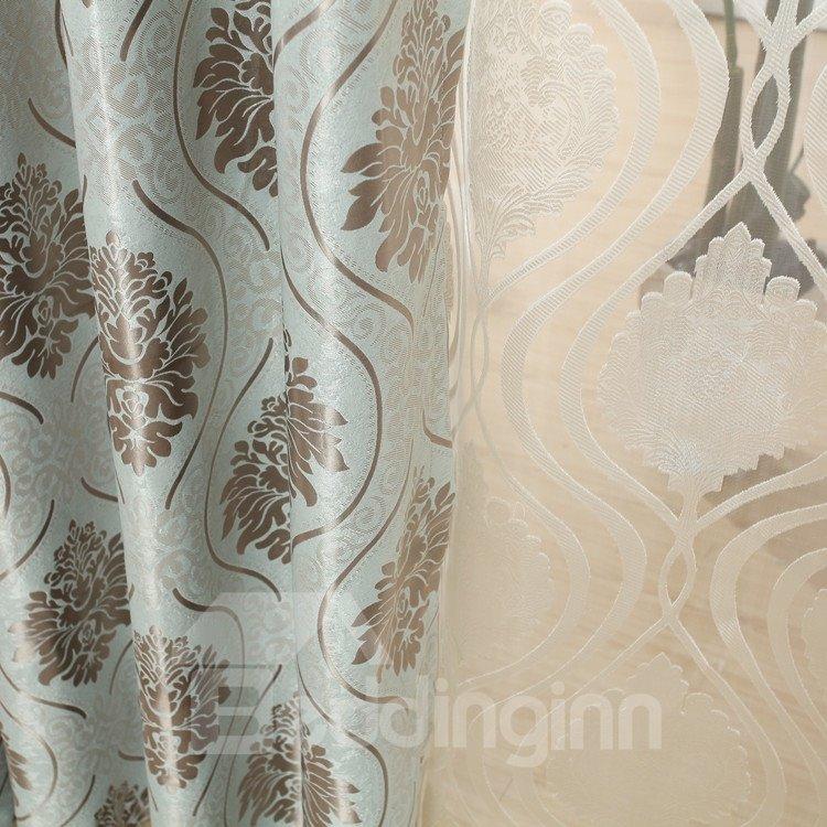 Fantastic Contemporary Blue Beautiful Patterns Grommet Top Custom Curtain