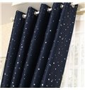 Elegant Contemporary Beautiful Star Pattern Dark Blue Grommet Top Custom Curtain