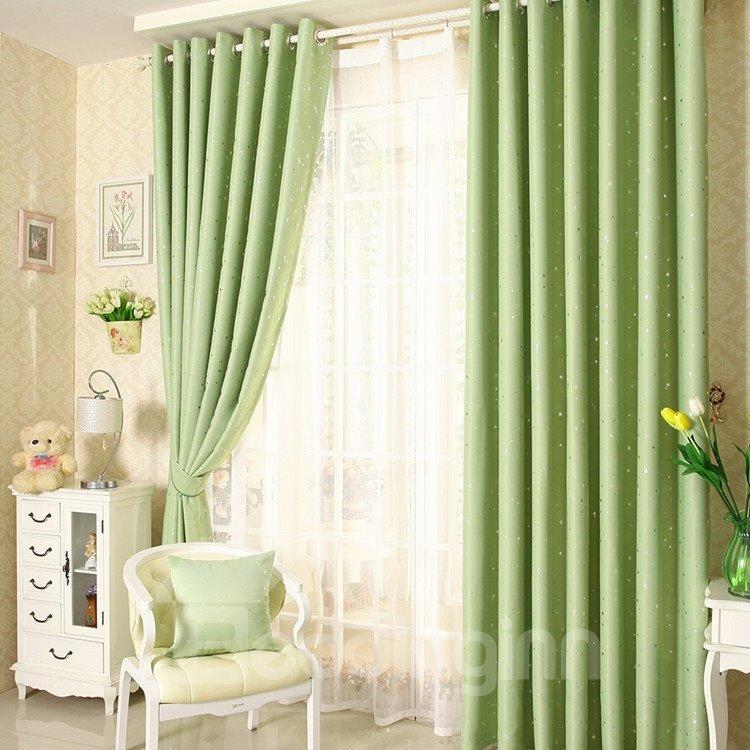 Elegant Contemporary Beautiful Star Pattern Green Grommet Top Custom Curtain