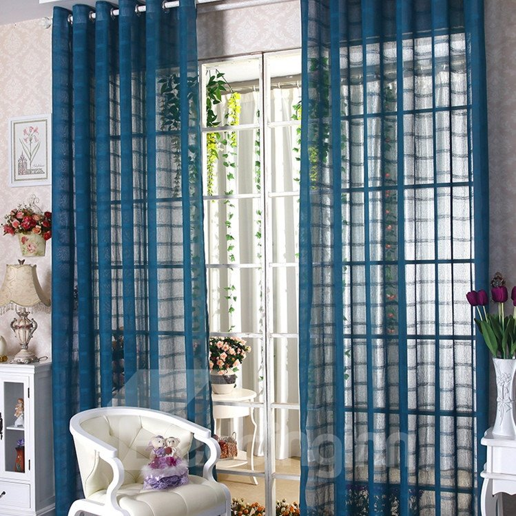 Elegant Contemporary Indigo-Blue Custom Sheer Curtain