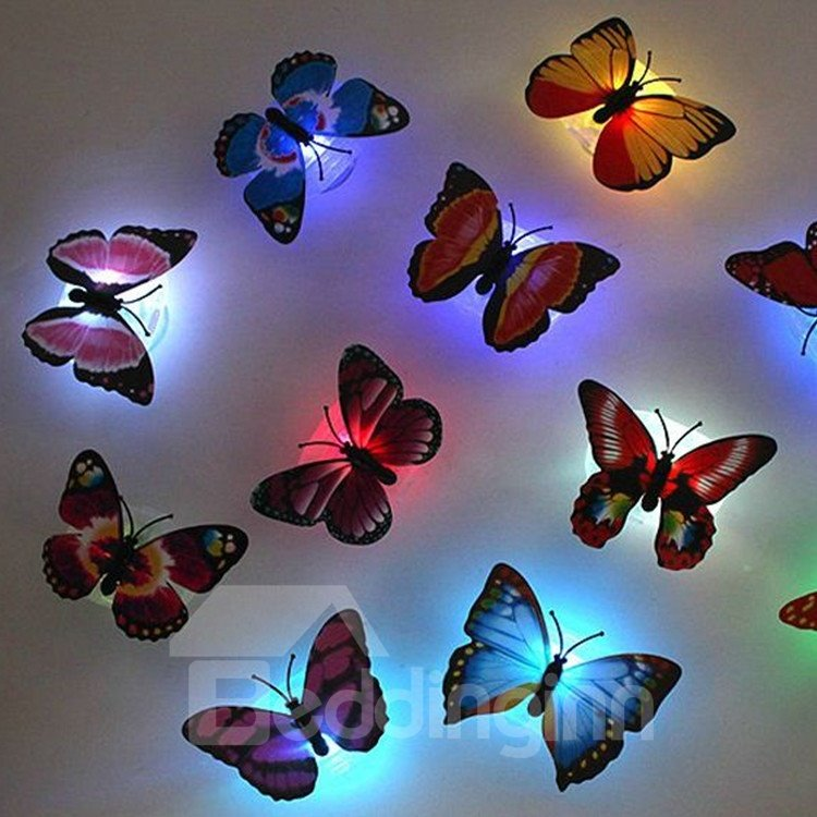 Hot Selling Amazing Creative LED Butterfly Sticky Ten Pieces Night-light