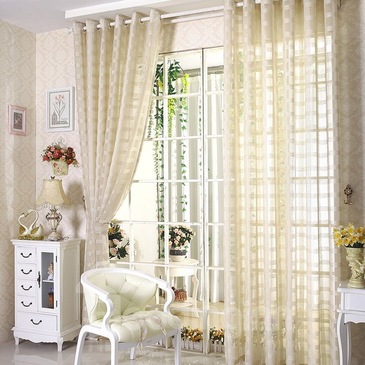 Decorative Elegant Concise Exquisite Beige Color Custom Sheer Curtain and Drapes
