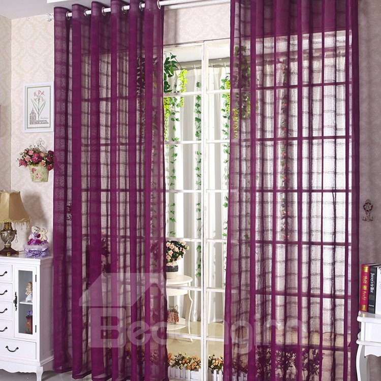 Elegant Contemporary Purple Custom Sheer Curtain