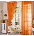 Breathable Polyester Elegant Contemporary Solid Orange 2 Panels Custom Sheer Curtain