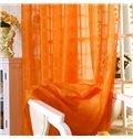 Breathable Polyester Elegant Contemporary Solid Orange 2 Panels Custom Sheer Curtain