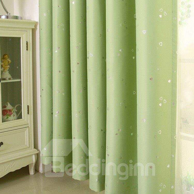 Elegant Contemporary Beautiful Heart-shaped Patterns Green Grommet Top Custom Curtain