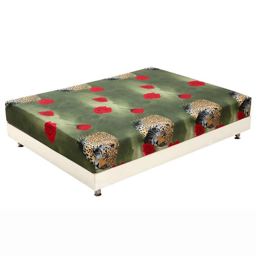 New Arrival Lifelike Leopard and Red Roses Print 3D Fitted Sheet