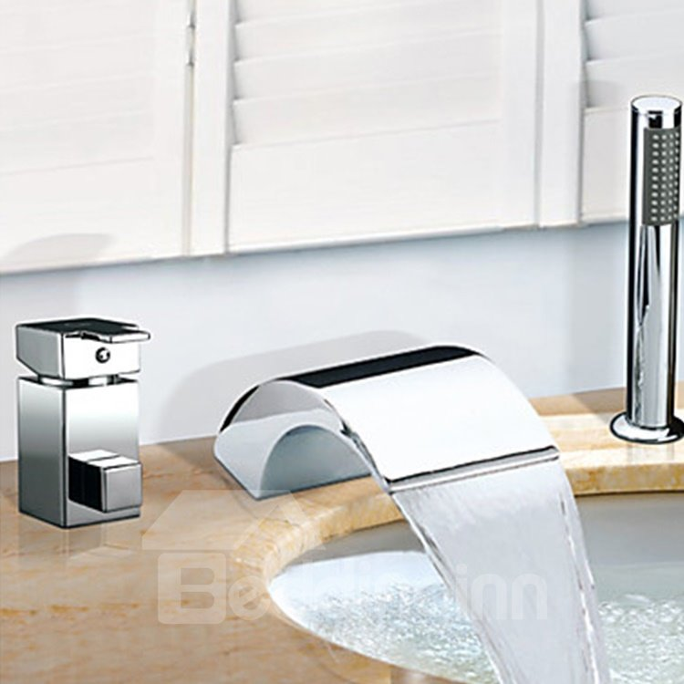 Amazing Contemporary Waterfall Chrome Finish Two Handles Widespread Tub Faucet