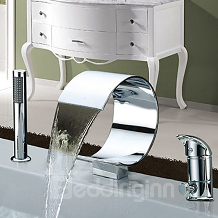 Contemporary Two Handles Chrome Finish Widespread Waterfall Bathtub Faucet