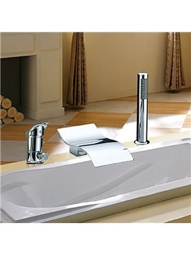 Elegant Contemporary Waterfall Two Handles Chrome Finish Widespread Bathtub Faucet