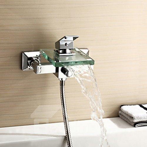 Glass Spout Waterfall Wall Mount Bathtub Faucet
