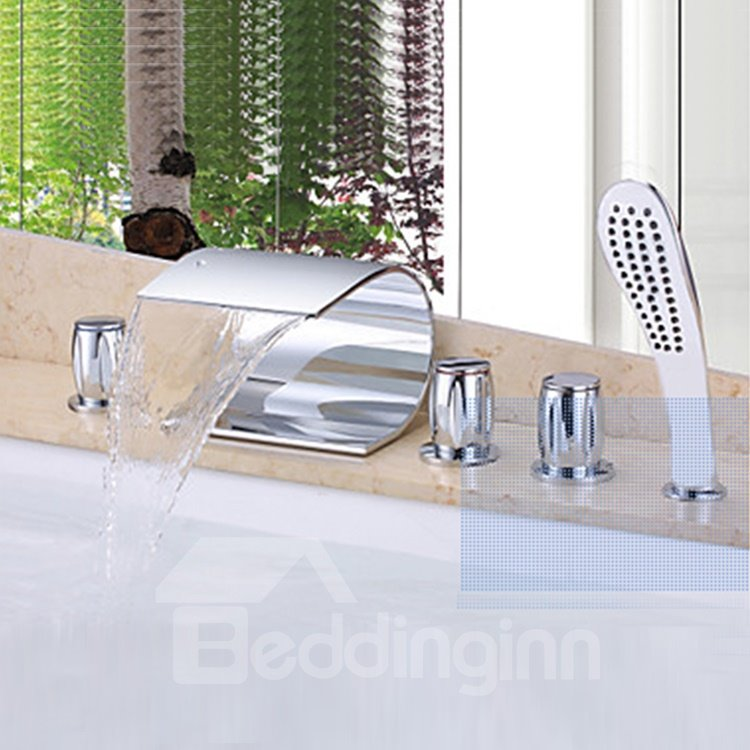 Contemporary Design Waterfall Wall-mounted Bathtub Faucet