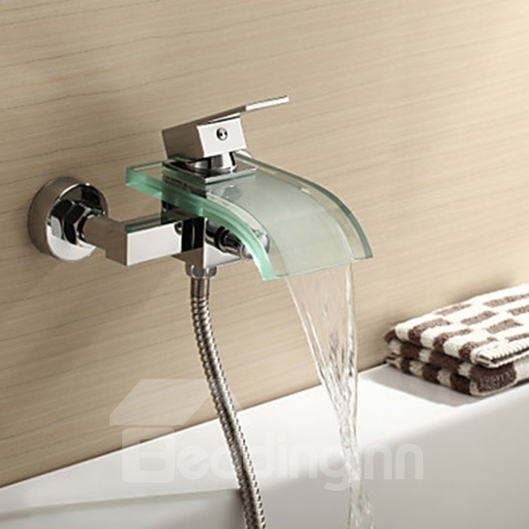 Contemporary Glass Spout Wall Mounted Bathtub Faucet - beddinginn.com