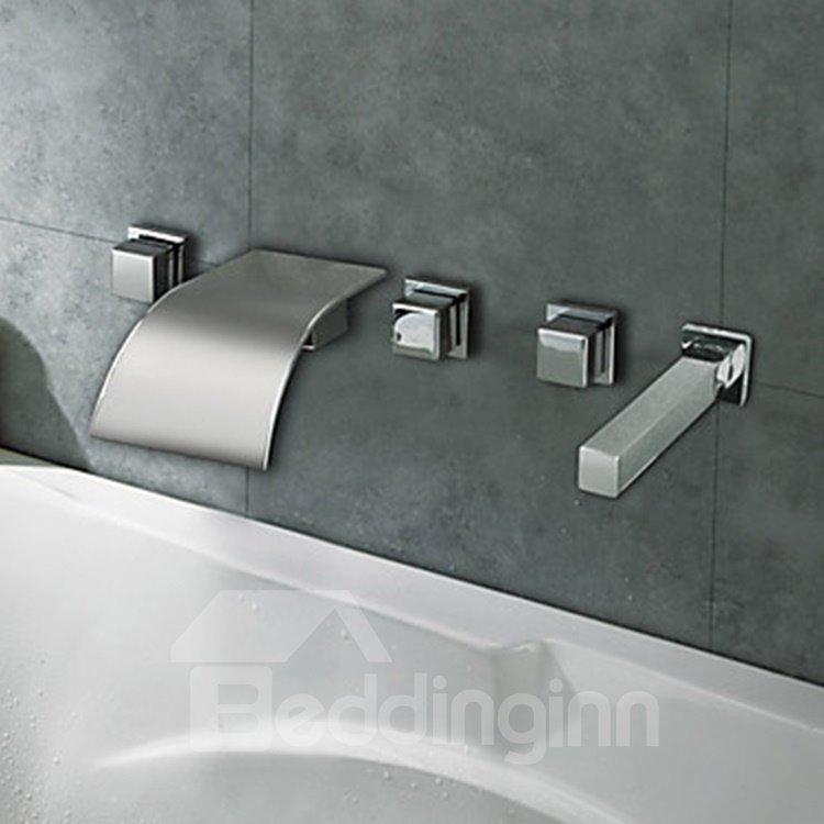Chrome Finish Curve Waterfall Three Handles Bathtub Faucet