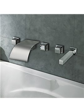 Chrome Finish Curve Waterfall Three Handles Bathtub Faucet