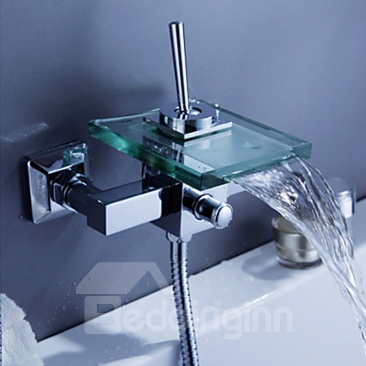 Contemporary Waterfall Glass Spout Wall Mounted Bathtub Faucet