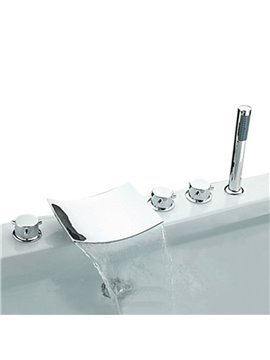 Chrome Widespread Waterfall Three Handles Bathtub Faucet