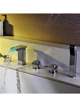 Contemporary Two Handles Color Changing LED Waterfall Bathtub Faucet