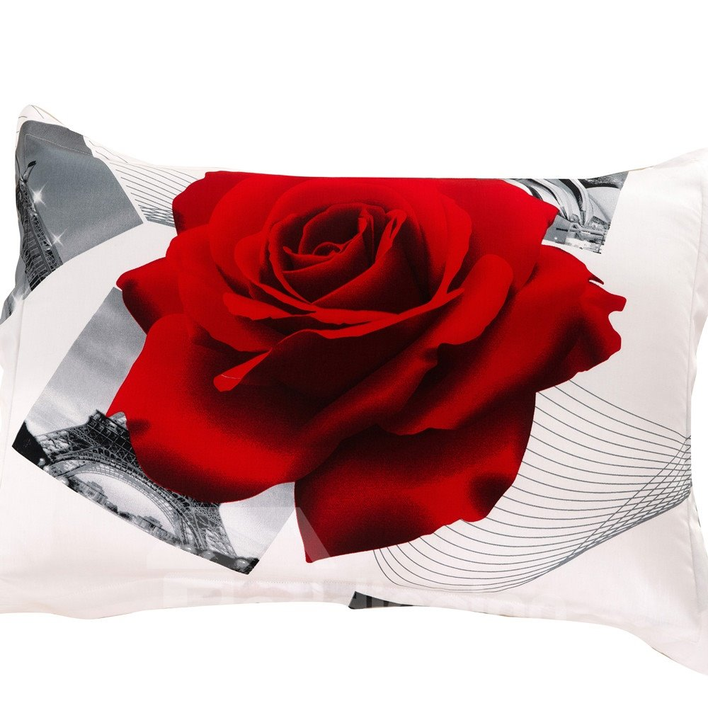 New Arrival Shiny Red Roses Print Two Pieces Pillow Case