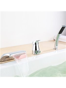 Amazing Contemporary Color Changing LED Waterfall Bathtub Faucet