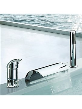 New Arrival Contemporary Two Handles Widespread Waterfall Bathtub Faucet