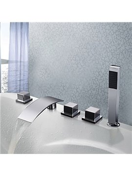 New Arrival Contemporary Chrome Finish Widespread Waterfall Bathtub Faucet