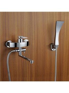 Contemporary Widespread Handshower Rotatable Spout Bathtub Faucet
