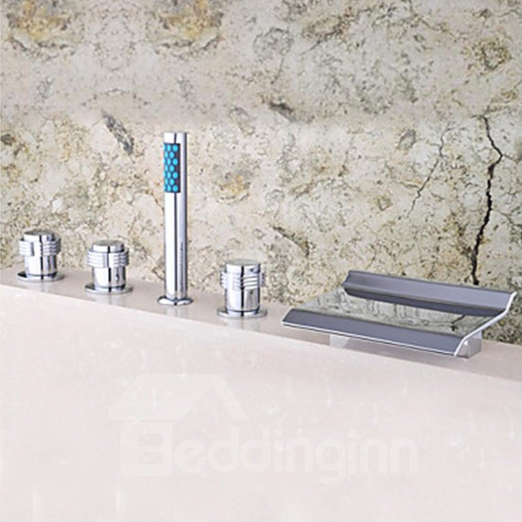 Modern Style Chrome Finished Widespread Waterfall Bathtub Faucet